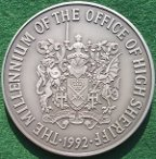 Millennium of High Sheriff�s Office 1992, silver medal issued by the Royal Min