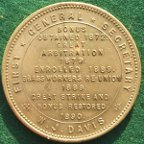 W.J.Davis, Numismatist & Trade Unionist, National Society of Amalgamated Brassworkers, brass medal 1890