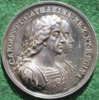 Charles II, British Colonization 1670, silver medal by J Roettier