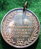 Queenborough, Kent, John Capel elected as Member of Parliament 1826, silver presentation medal