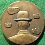 Ren� Magritte, cast bronze art medal 1983 for the British Art Medal Society by Laurence Burt