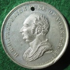 Frederick, Duke of York, Death 1827, white metal medal by TW Ingram,