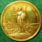 Anne, Treaty of Utrecht 1713 in gold, by John Croker