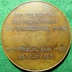 Earl Haig memorial statue inaugurated at Montreuil-sur-Mer 1931, bronze medal