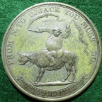 London Theatre, Covent Garden Old Price Riots 1809, white metal medal,