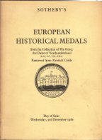 Sotheby - European Medals Alnwick Northumberland 1980