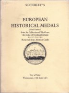 Sotheby - European Medals Alnwick Northumberland 1981