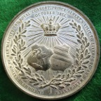 Liverpool & Manchester, visit of Victoria & Albert 1851, large white metal meda