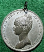 Victoria, Coronation 1838, white metal medal by T Halliday