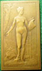 France, �L�Etude� (1908), bronze plaquette  medal by L�on-Julien Deschamps