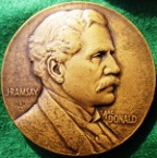 USA, visit of British Prime Minister Ramsay Macdonald 1929, bronze medal by John R Sinnock for the Medallic Art Company, New York