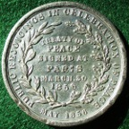 Crimean War, Peace of Paris 1856, white metal medal