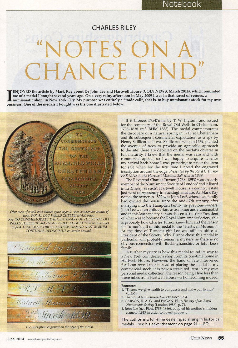 Hartwell House medal Coin News June 2014